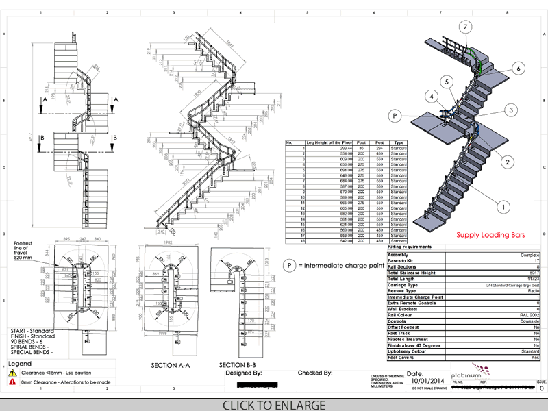 Curved Stair Lift Cad Drawing Example